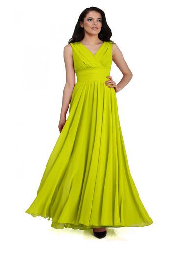 Pierre Cardin Şifon V Yaka Uzun Abiye Elbise Yeşil